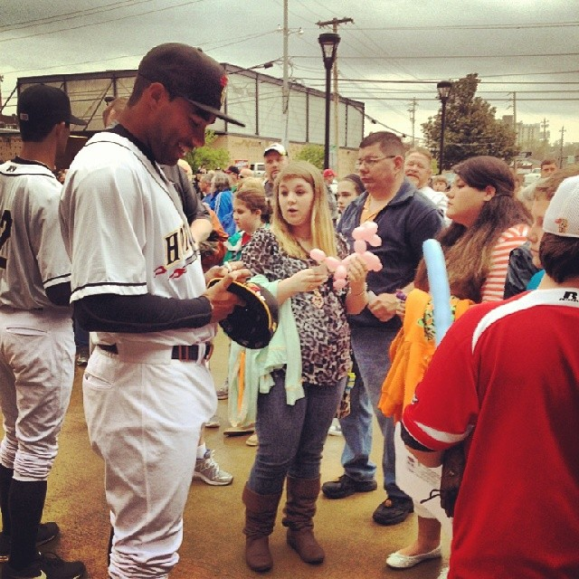 Hot Rods players signed autographs for fans outside Bowling Green Ballpark.