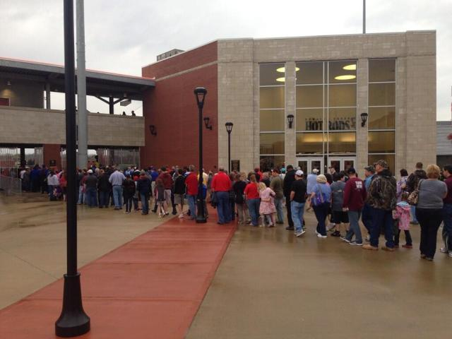 line to get into BG Ballpark