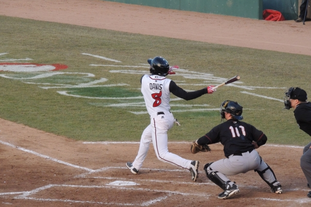 DJ Davis doubled home a run for the Lugnuts in the bottom of the 2nd inning.