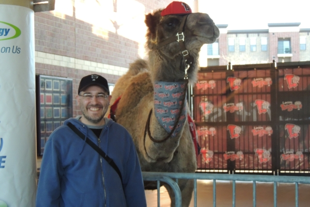 The Midwest League Traveler meets Humphrey the camel.