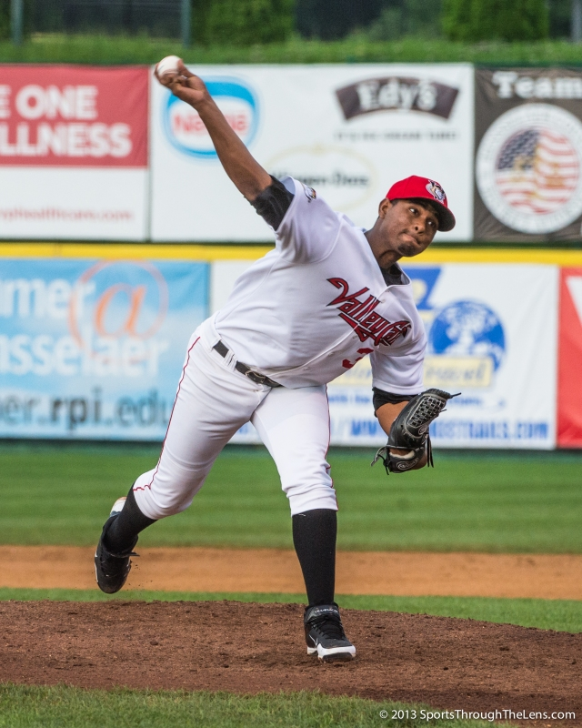 RHP Michael Feliz delivers a pitch for the Tri-City ValleyCats last June.