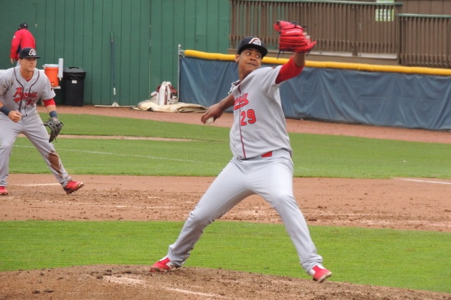 Peoria Chiefs RHP Alex Reyes delivers a pitch in Beloit earlier this season. (Photo by Craig Wieczorkiewicz/The Midwest League Traveler)