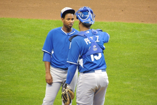 Catcher Salvador Perez talks to pitcher Yordano Ventura during the second inning of Saturday's game.