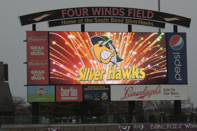 The scoreboard at Four Winds Field.