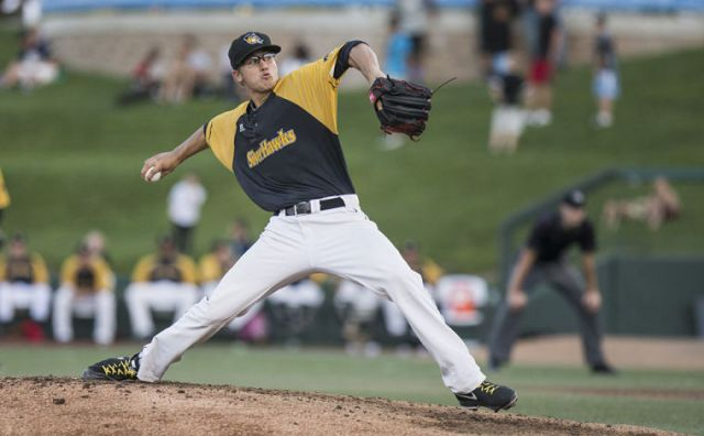 Braden Shipley pitching for the South Bend Silver Hawks in the Midwest League playoffs last year. (Photo by Robert Franklin/South Bend Tribune)