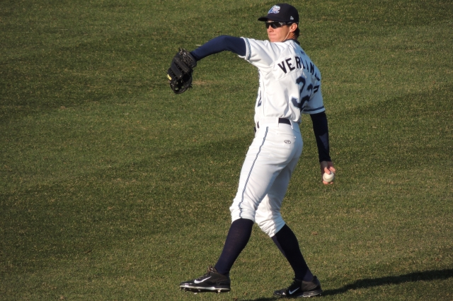Whitecaps RF Ben Verlander throws to a teammate before the start of Tuesday's game.