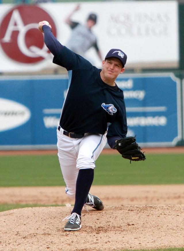 Austin Kubitza delivers a pitch for the West Michigan Whitecaps last month. (Photo courtesy of the Whitecaps)