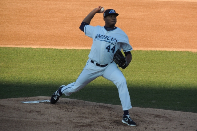 Jeff Thompson delivers a pitch during the West Michigan Whitecaps' home opener last year. (Photo by Craig Wieczorkiewicz/The Midwest League Traveler)