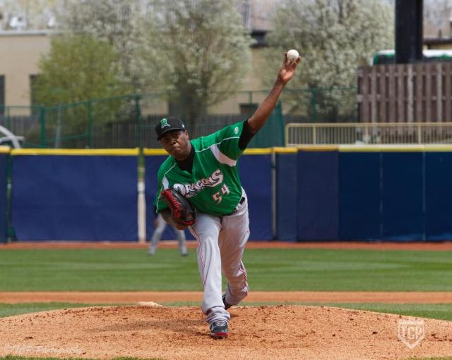 LHP Aroldis Chapman delivers a pitch for the Dayton Dragons on Saturday. (Photo by TCP Photography)