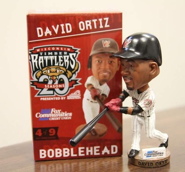 The David Ortiz bobblehead being given away at Tuesday's Timber Rattlers game. (Wisconsin Timber Rattlers photo)
