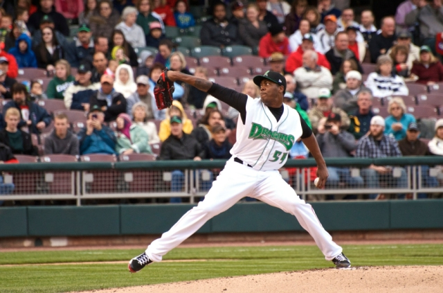 Aroldis Chapman pitched two innings during a two-game rehab stint with the 2014 Dayton Dragons. (Photo courtesy of WDTN-TV)
