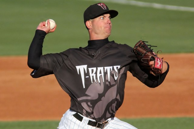 Damien Magnifico pitched for the Wisconsin Timber Rattlers in 2013. (Photo by Brad Krause)