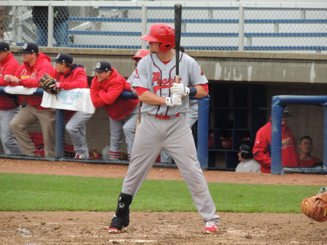 Peoria Chiefs 3B Michael Schulze bats against the Beloit Snappers at Pohlman Field last week. (Photo by Craig Wieczorkiewicz/The Midwest League Traveler)