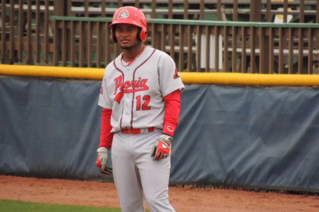 Peoria Chiefs SS Juan Herrera stands at first base during a game at Pohlman Field last week. (Photo by Craig Wieczorkiewicz/The Midwest League Traveler)