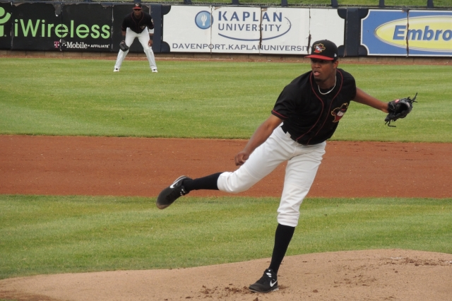 Jandel Gustave pitched for the Quad Cities River Bandits in 2014. (Photo by Craig Wieczorkiewicz/The Midwest League Traveler)