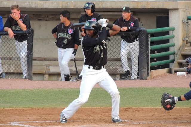 Shawon Dunston Jr. bats for the Kane County Cougars during the 2014 season. (Photo by Craig Wieczorkiewicz/The Midwest League Traveler)