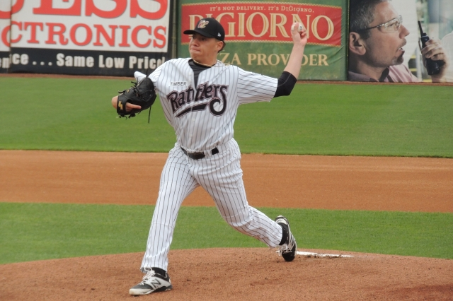 Wisconsin Timber Rattlers SP Tyler Alexander delivers a pitch in the 1st inning of Tuesday's game.