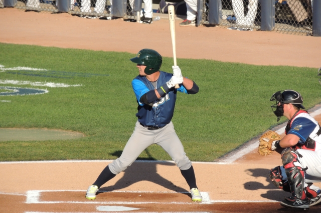 "Oakland A's prospect Herschel ""Boog"" Powell bats during the MWL All-Star Game last month. (Photo by Craig Wieczorkiewicz/The Midwest League Traveler)"