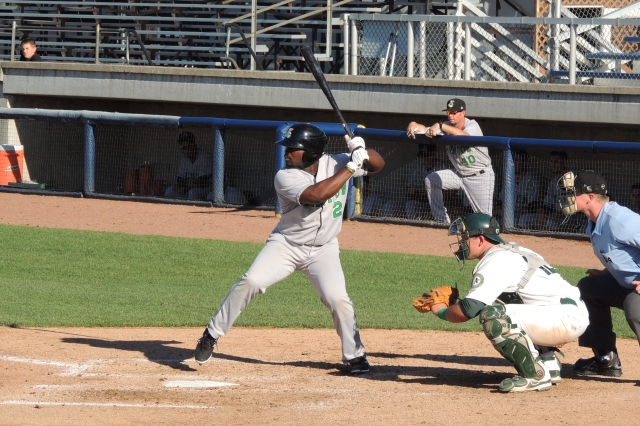 Clinton LumberKings DH Chantz Mack bats in the 6th inning of Game 1 of Friday's doubleheader.