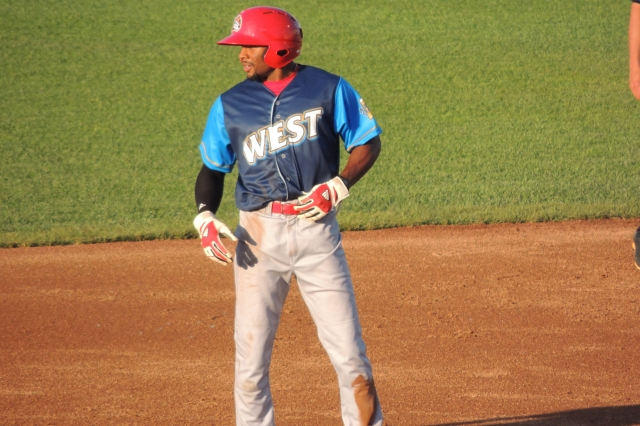 Peoria Chiefs OF C.J. McElroy stands on second base after stealing his first base of the game.