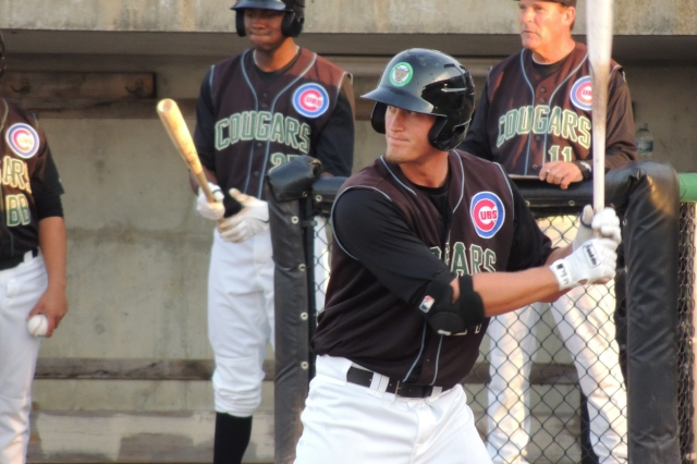 Cougars 1B Jacob Rogers bats during a game at Kane County's Fifth Third Bank Ballpark in May. (Photo by Craig Wieczorkiewicz/The Midwest League Traveler)