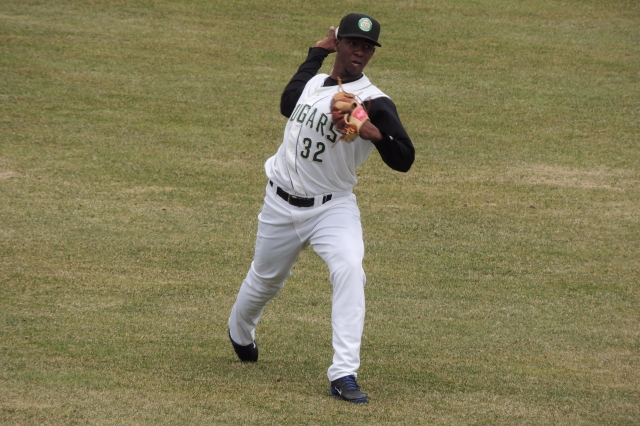 Cougars RHP Juan Paniagua warms up before a game at Kane County's Fifth Third Bank Ballpark in April. (Photo by Craig Wieczorkiewicz/The Midwest League Traveler)
