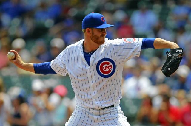 Chicago Cubs SP Dallas Beeler throws a pitch during the 1st inning of his MLB debut Saturday. (Photo by Dennis Wierzbicki/USA Today Sports)