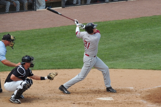 Wisconsin Timber Rattlers 1B Garrett Cooper tied the game with this swing that produced a RBI double.