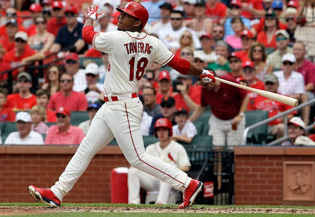 Oscar Taveras homered in his MLB debut with the St. Louis Cardinals on May 31. (Jeff Roberson/AP Photo)