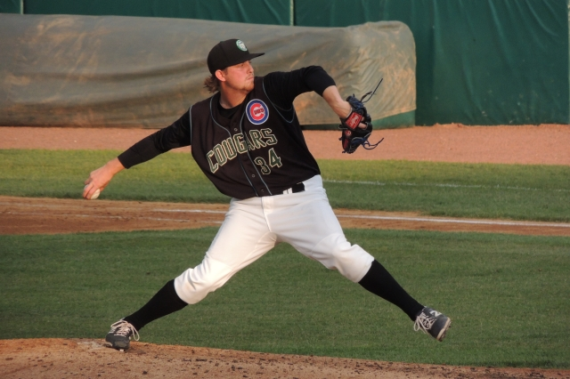 Paul Blackburn pitched for the Kane County Cougars in 2014. (Photo by Craig Wieczorkiewicz/The Midwest League Traveler)