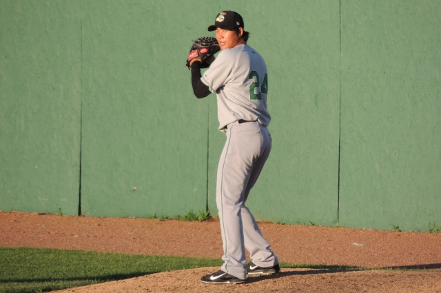 RHP Seon Gi Kim warms up in the bullpen before starting Game 2 for the LumberKings.