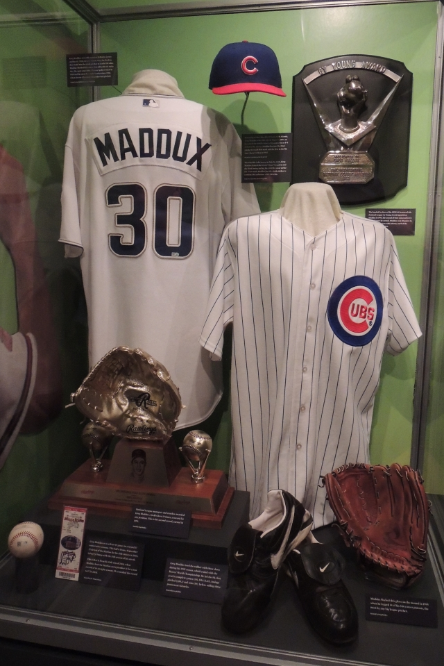 The Greg Maddux display at the Baseball Hall of Fame. (Photo by Craig Wieczorkiewicz/The Midwest League Traveler)