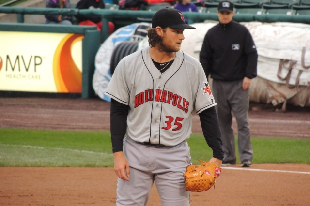 Rehabbing Pirates pitcher Gerrit Cole took the mound for the Indianapolis Indians on Monday. (Photo by Craig Wieczorkiewicz/The Midwest League Traveler)