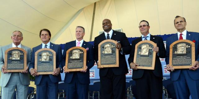 The Baseball Hall of Fame honored its latest inductees Sunday. They are, from left: Bobby Cox, Tony La Russa, Tom Glavine, Frank Thomas, Greg Maddux and Joe Torre. (Photo from MLB.com)
