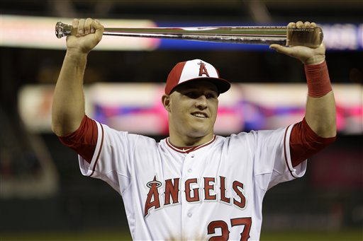 Los Angeles Angels OF Mike Trout holds the All-Star Game MVP trophy. (AP Photo/Jeff Roberson)