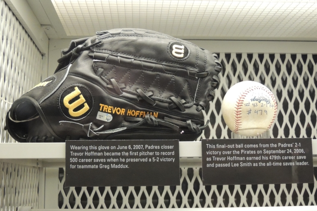These Trevor Hoffman artifacts were on display inside the National Baseball Hall of Fame in 2014. (Photo by Craig Wieczorkiewicz/The Midwest League Traveler)