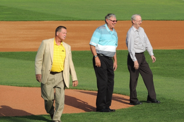 From left: Hank King, Ed Petryshyn and Tim Sommer after throwing out ceremonial first pitches.