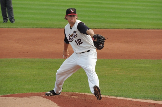 Adrian Houser pitched for the Quad Cities River Bandits in 2014. (Photo by Craig Wieczorkiewicz/The Midwest League Traveler)