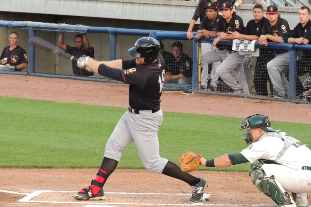 A.J. Reed connects with a pitch during a Quad Cities game last year. (Photo by Craig Wieczorkiewicz/The Midwest League Traveler)