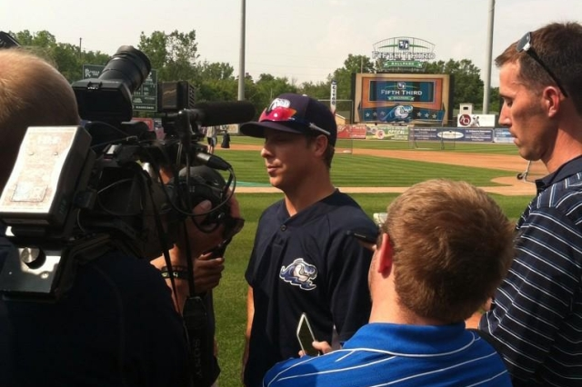 Andy Dirks talks to local media at West Michigan's Fifth Third Ballpark on Friday. (Photo courtesy of the Whitecaps)