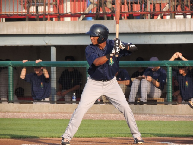 Jonathan Hinojosa bats for the Cedar Rapids Kernels in Burlington last year. (Photo by Craig Wieczorkiewicz/The Midwest League Traveler)
