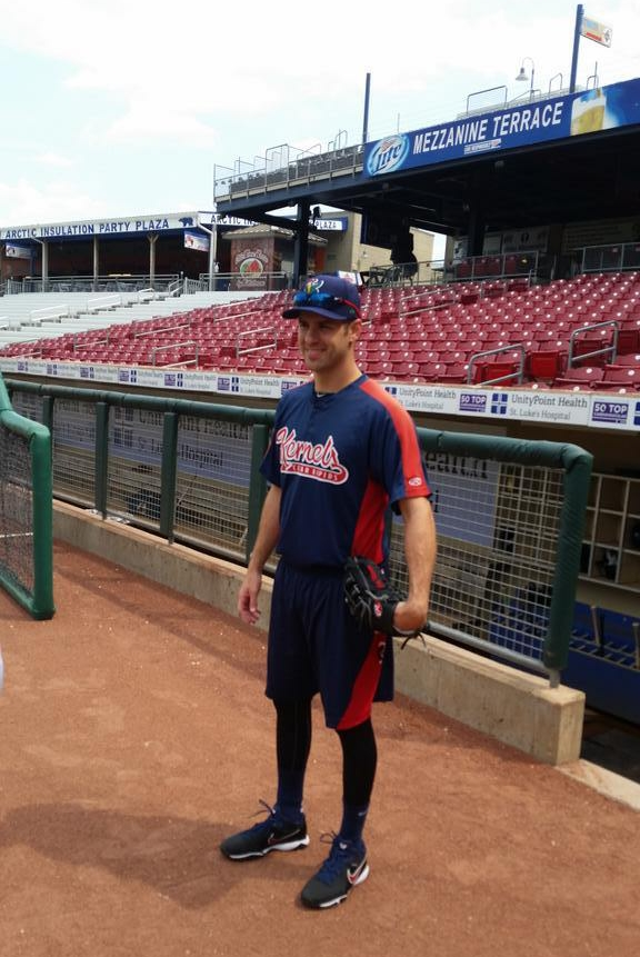 Joe Mauer dressed the part when he worked out with the Cedar Rapids Kernels today. (Photo by Todd Brommelkamp)
