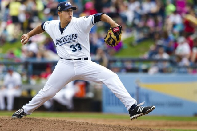 West Michigan Whitecaps RHP Jonathan Maciel delivers a pitch during a game earlier this season. (Photo by Joel Bissell of MLive.com)