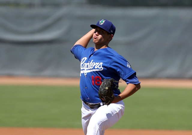 Los Angeles Dodgers prospect Jose De Leon pitching for the Ogden Raptors earlier this season. (Photo from Baseball America)