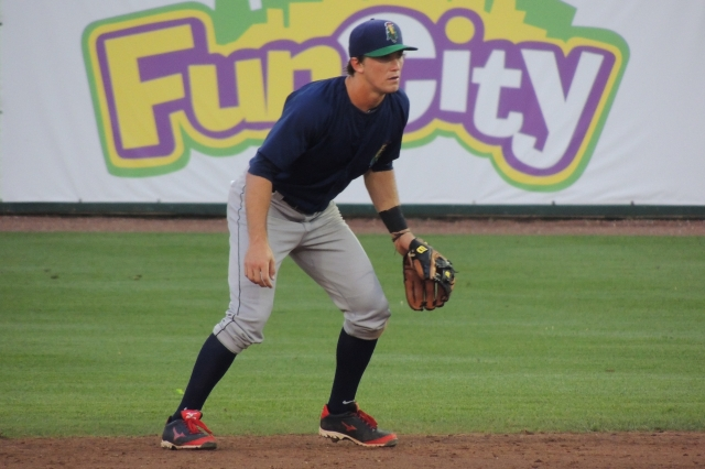Logan Wade playing second base for Cedar Rapids earlier this year in Burlington. (Photo by Craig Wieczorkiewicz/The Midwest League Traveler)
