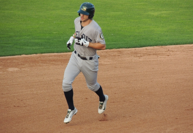 Beloit Snappers LF Ryan Mathews rounds 2nd base after homering in the top of the 7th inning.
