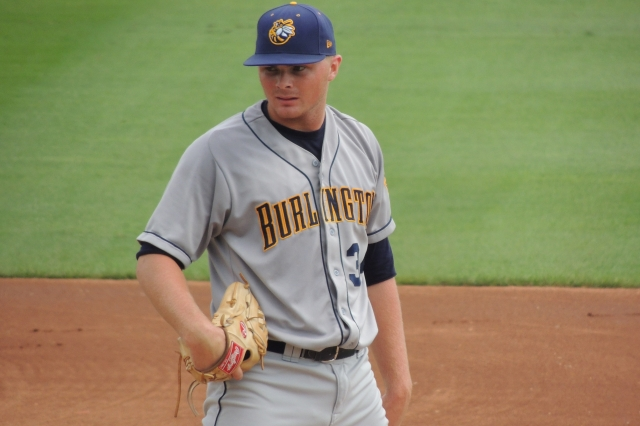 Sean Newcomb on the mound for the Burlington Bees in 2014. (Photo by Craig Wieczorkiewicz/The Midwest League Traveler)