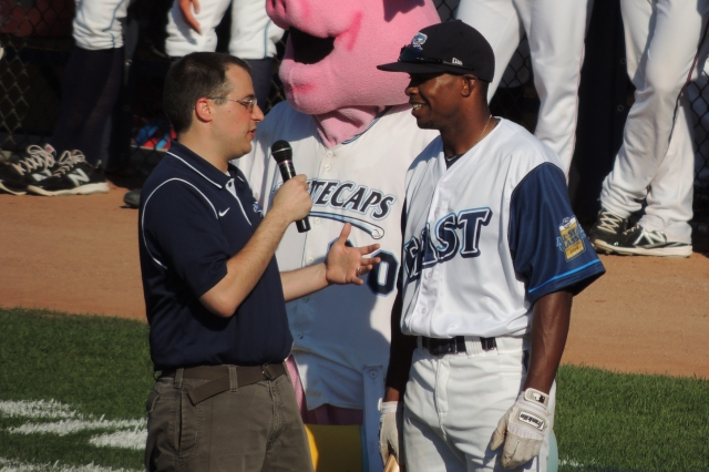 West Michigan broadcaster Ben Chiswick interviews Whitecaps OF Wynton Bernard during the bunting contest prior to this year's Midwest League All-Star Game. Bernard recently was named the league's MVP, and Chiswick the MWL's top broadcaster.