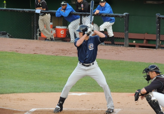 Bradley Zimmer bats during the top half of the 1st inning Wednesday. (Photo by Craig Wieczorkiewicz/The Midwest League Traveler)