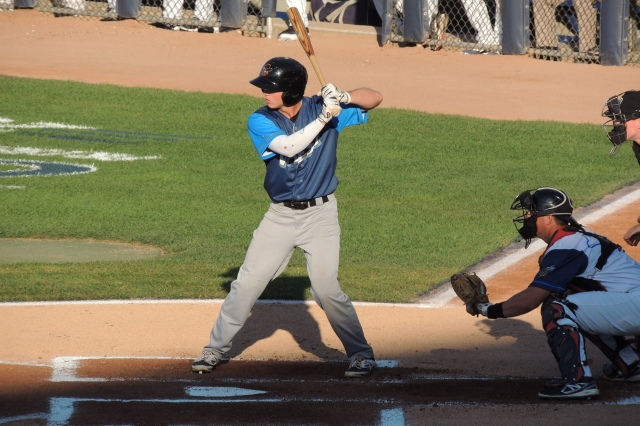 Brett Phillips bats during the 2014 Midwest League All-Star Game. (Photo by Craig Wieczorkiewicz/The Midwest League Traveler)